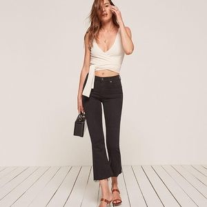 Reformation flood and flare jeans in black